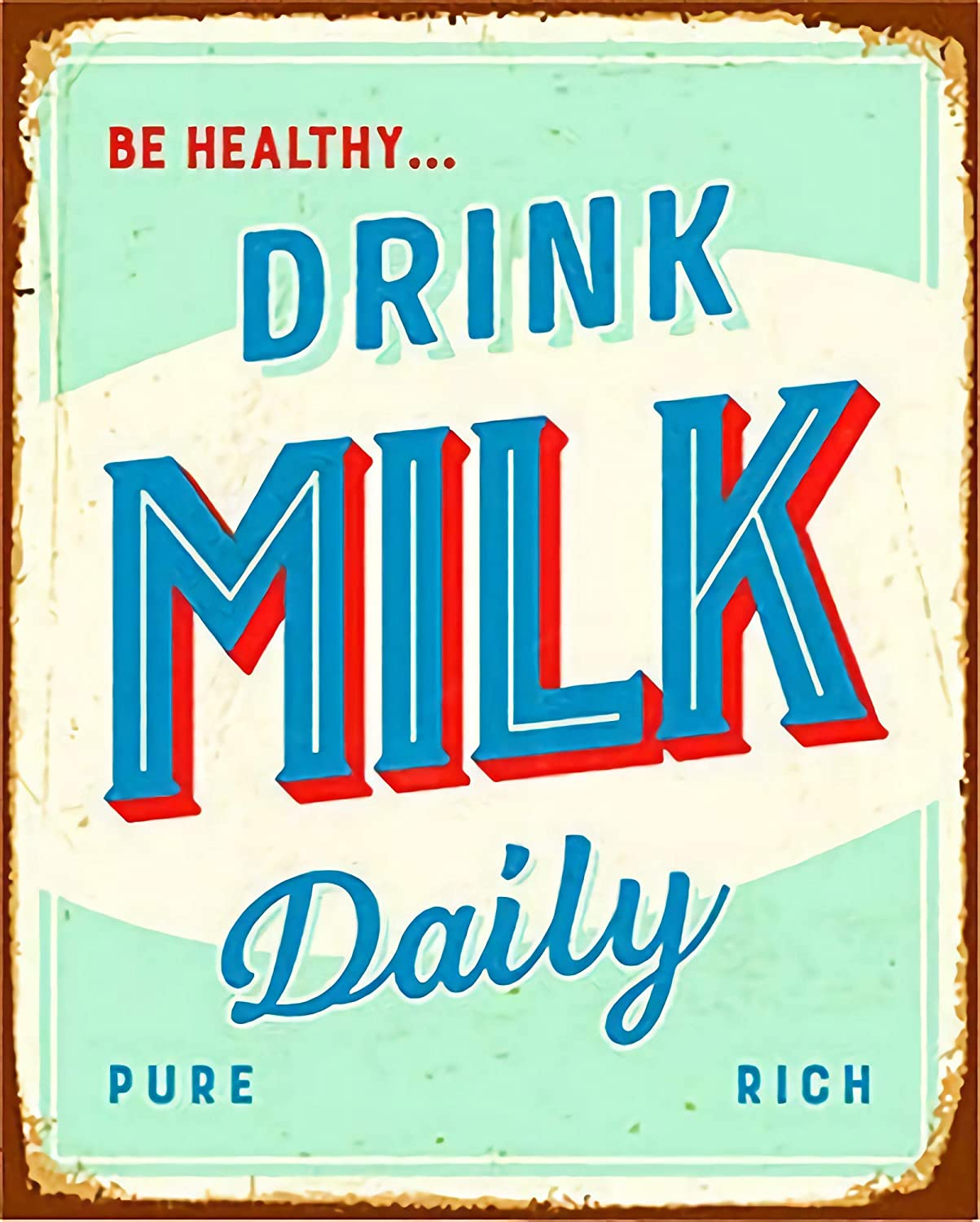 Vintage New Metal Poster Drink Milk Daily Rust Metal Tin Sign 8x12 Inch Retro Art House Cafe Shop Bar Restaurant Garage Fast Food Classic Wall Decor Metal Plaque