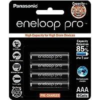 Panasonic AAA Ni-MH, High Capacity Eneloop Pro Pre-charged AAA High Capacity Re-chargeable Batteries, (BK-4HCCE/4BT)