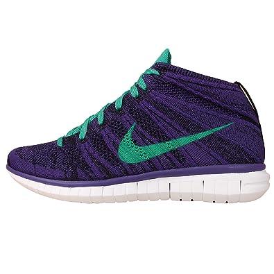 Nike Women's Wmns Free Flyknit Chukka, COURT PURPLE/HYPER JADE-BLACK-WHITE