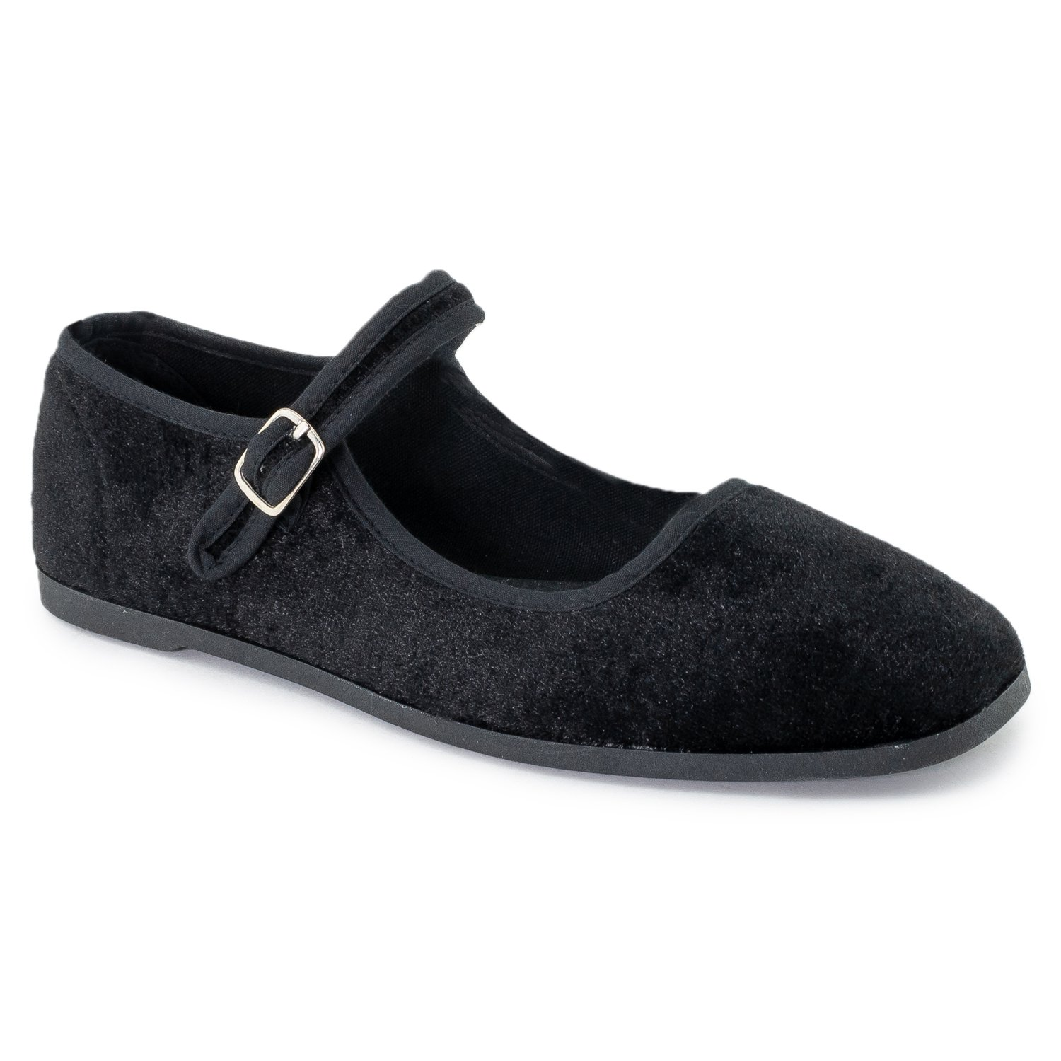 RF ROOM OF FASHION Mary Jane Ballet Flats - Stylish and Comfortable Ballerina Style Flat Shoes - Women's Mary Janes with a Low Heel and Bow Back Straps - Dress Up Down - Slip-on Black Velvet (6)