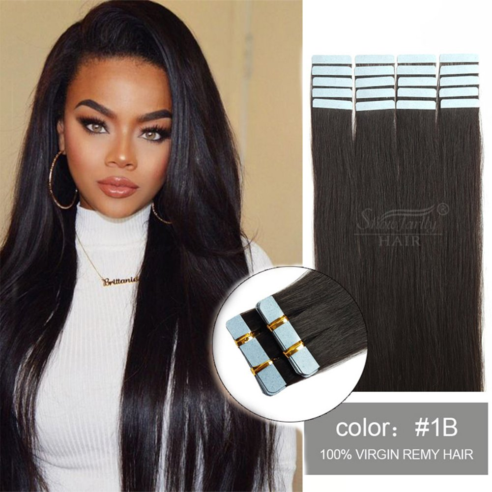 SHOWJARLLY 20 Remy Tape in Hair Extensions Human Hair 20Pcs/Set #30 Medium Auburn Seamless Tape in Skin Weft Human Hair Extensions 50g