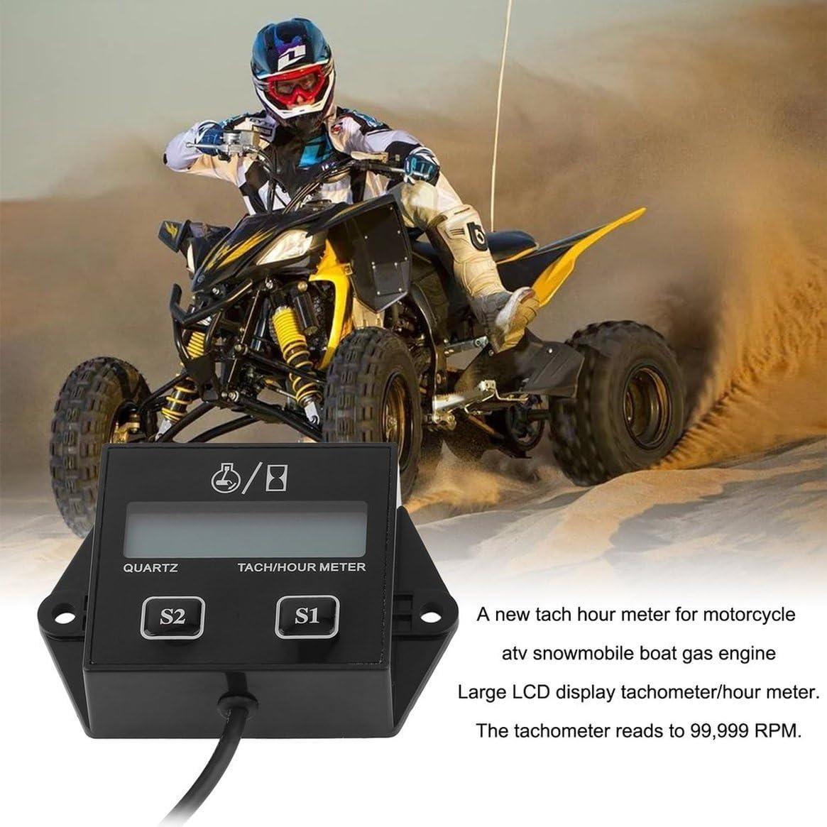 12V de voiture LCD Affichage Tachym/ètre Compteur Dheures Moto 2 /& 4 Temps Moteur /À Essence Pour /Étincelle Pour Bateau Motocross V/élo
