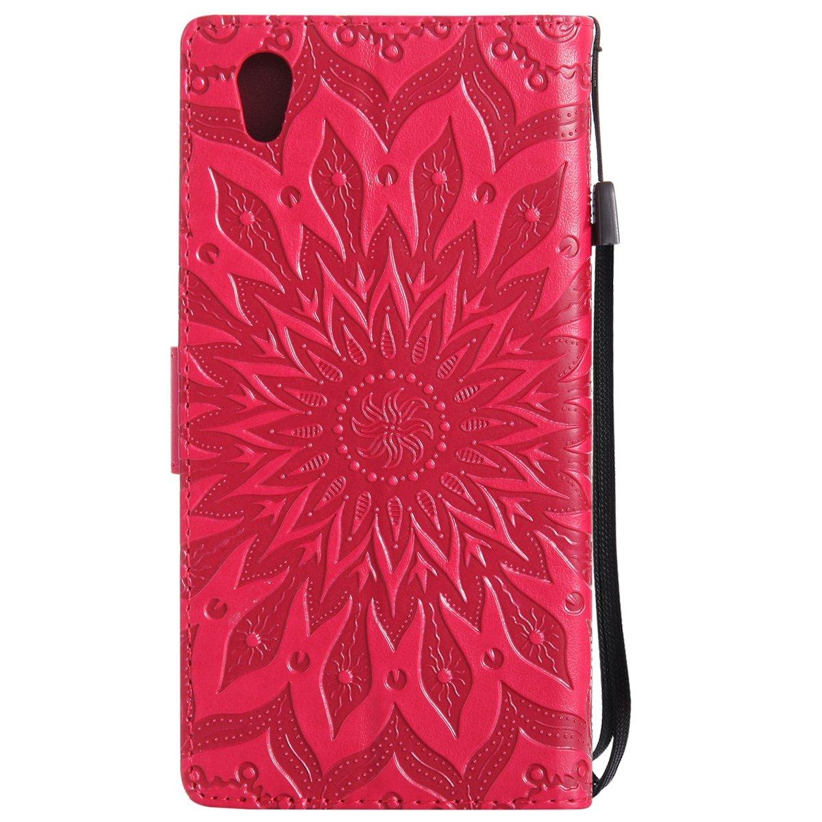 Kompatibel mit Sony Xperia L1 H/ülle,Sony Xperia L1 Schutzh/ülle,Pr/ägung Mandala Blumen Sonnenblume PU Lederh/ülle Flip H/ülle Cover St/änder Etui Wallet Tasche Case Schutzh/ülle f/ür Sony Xperia L1,Rosa