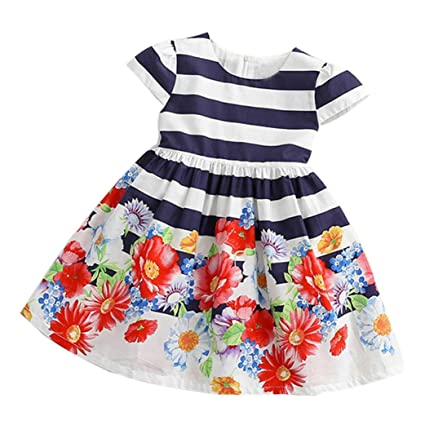 8caa20c3f93 GBSELL Toddler Kids Little Girls Floral Striped Princess Dress Casual  Clothes Outfits (Multicolor
