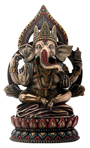 Seated Ganesha on Lotus Collectible Hinduism Sculpture