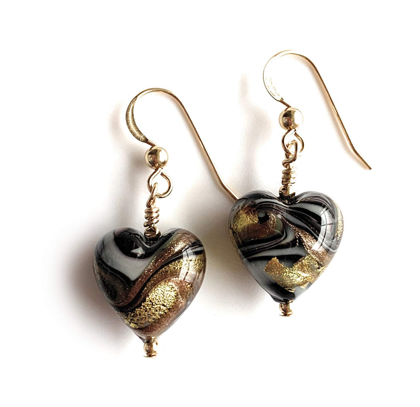 Diana Ingram earrings with byzantine grey and gold Murano glass small heart drops on Sterling Silver or 22 Carat gold vermeil hooks