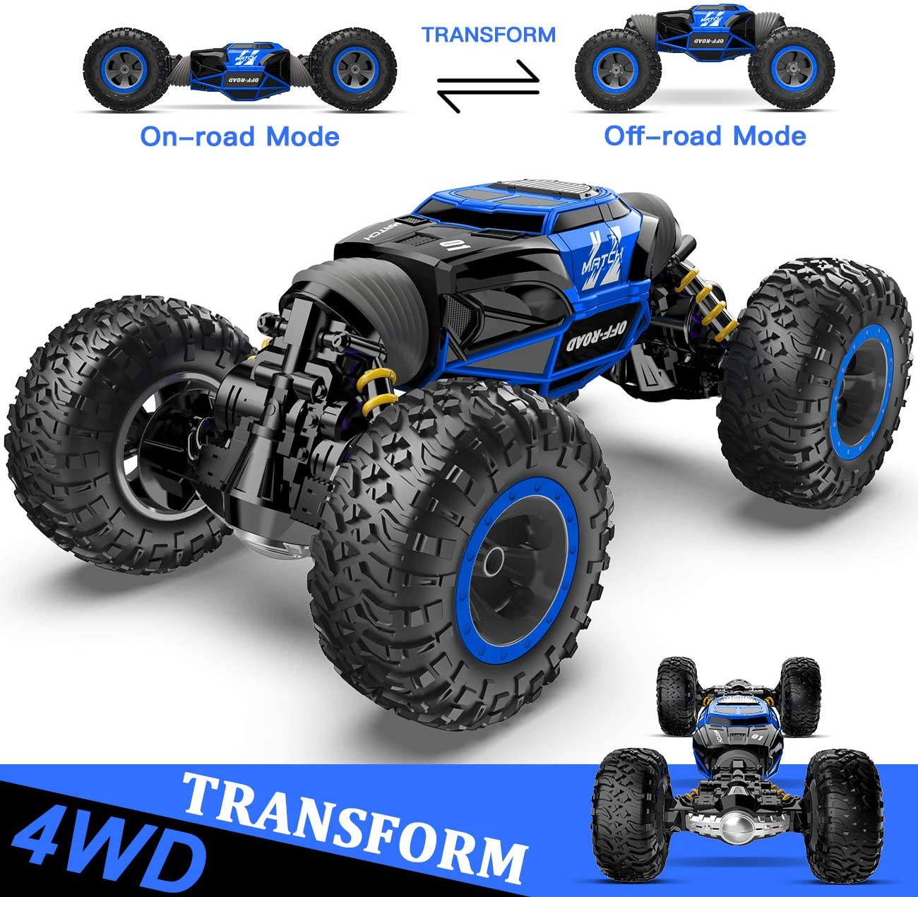 BEZGAR 16 Toy Grade1:14 Scale Remote Control Crawler, 4WD Transform 15 Km/h All Terrains Electric Toy Stunt Cars RC Monster Vehicle Truck Car with Rechargeable Batteries for Boys Kids Teens and Adults: Toys & Games