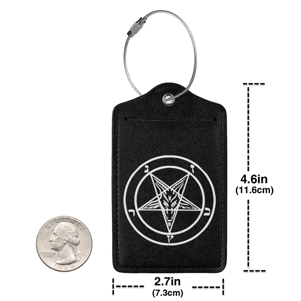 Satan Symbol Leather Luggage Tags Suitcase Tag Travel Bag Labels With Privacy Cover For Men Women 2 Pack 4 Pack