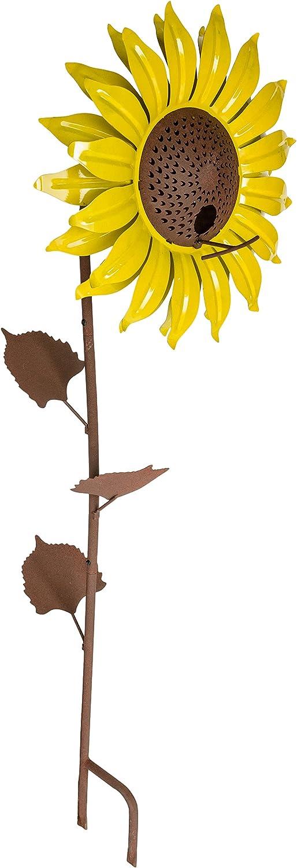 """Desert Steel Sunflower Standing Bird Feeder - (Yellow - 13""""W x 34""""H) - Outside Rust Resistant Garden Art Metal Birdfeeder with Stand"""