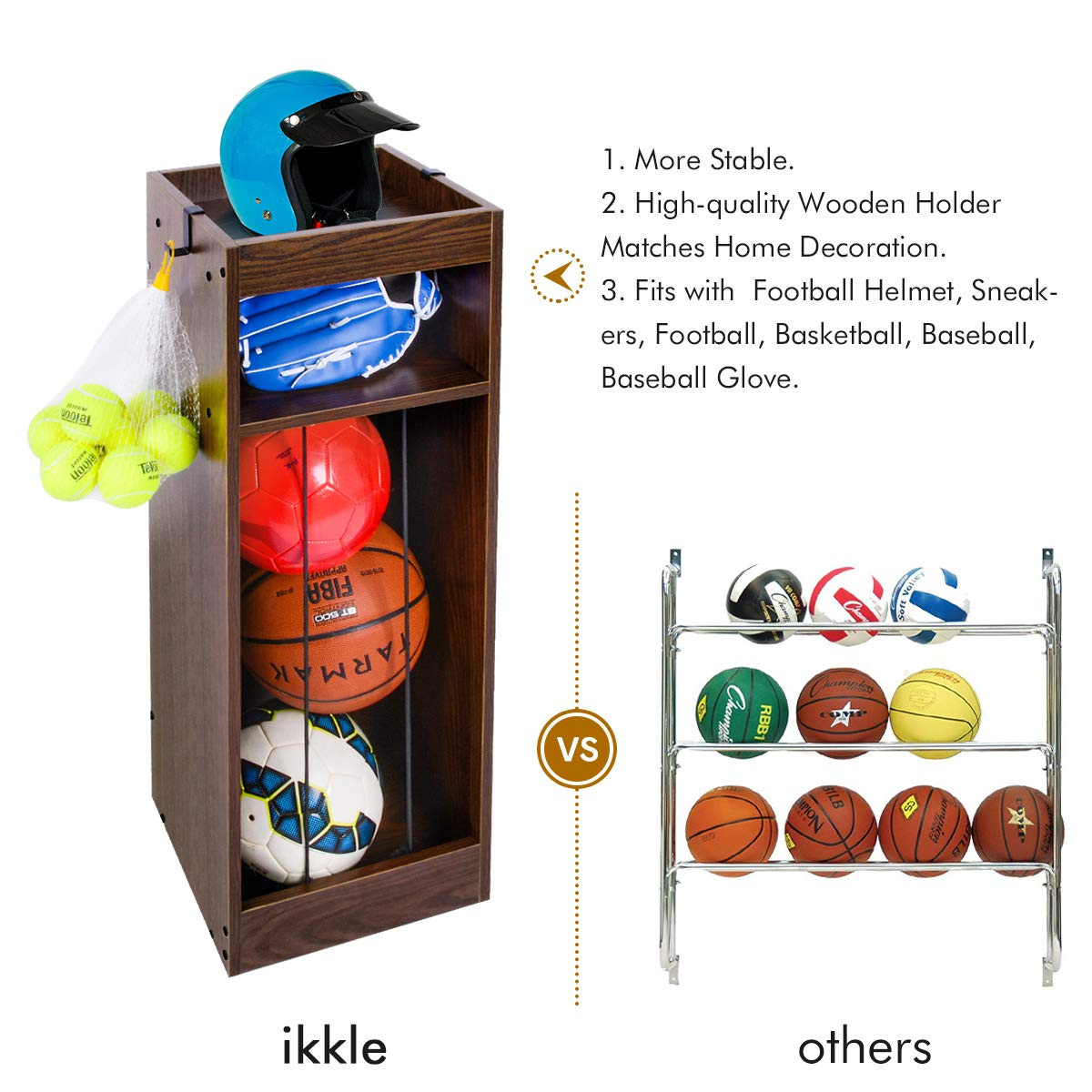 Sport Storage Organizer 3 Tiers for Football Helmet Vintage Wooden Cabinet with 2 Metal Hooks Baseball for Baseball/Glove Sneakers Black Football Basketball