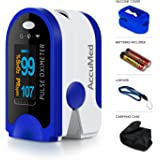AccuMed Pulse Oximeter, Sp02 Finger Blood Pulse Oxygen Monitor, w/Carrying case, Lanyard Silicon Case & Battery CMS-50D (Blue)