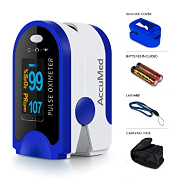AccuMed Fingertip Pulse Oximeter, Sp02 Finger Blood Pulse Oxygen Monitor,  w/Carrying case, Lanyard