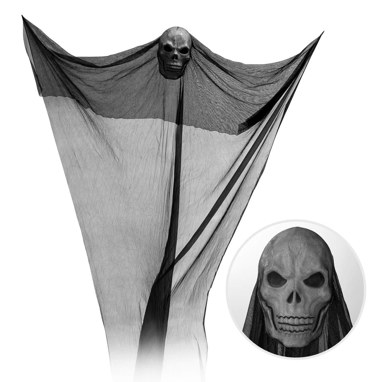 GWHOLE Red Colgante Fantasma de Halloween con Calavera Negra 3,2 Metros Fiesta Tem/ática de Terror Decoraciones para Fiesta de Halloween