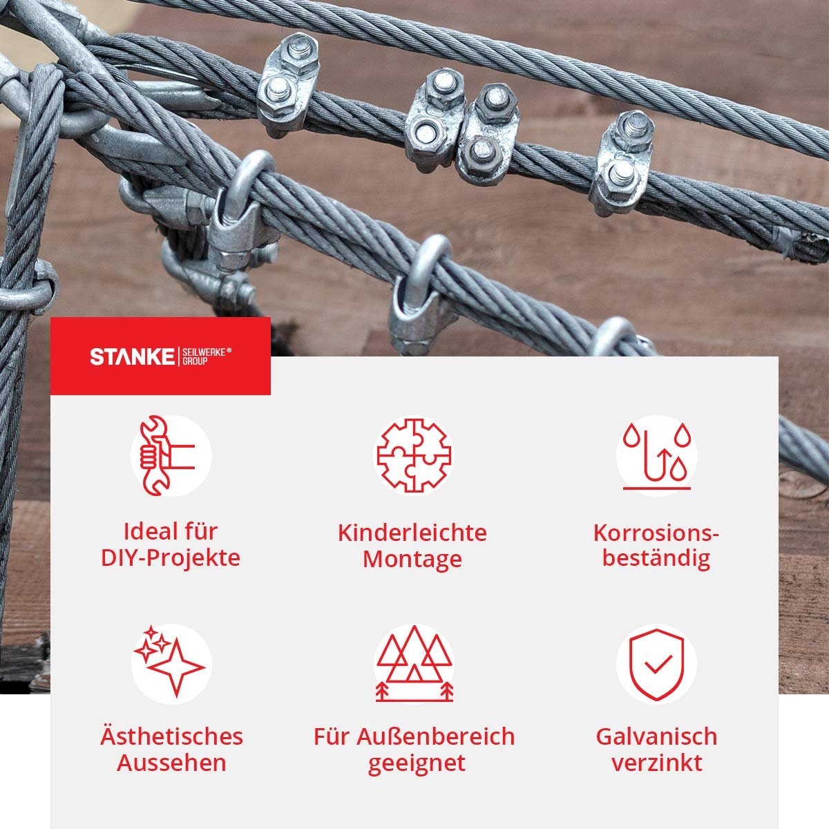 Seilwerk STANKE 100x Duplex Klemme Gr/ö/ße 2 f/ür 2 mm Drahtseile Seilklemme Verzinkt Stahlseil
