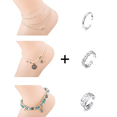 25ab33d54 Finrezio 3 PCS Anklets Open Toe Rings Set for Women Girls Silver Plated  Ankle Bracelets Knuckle