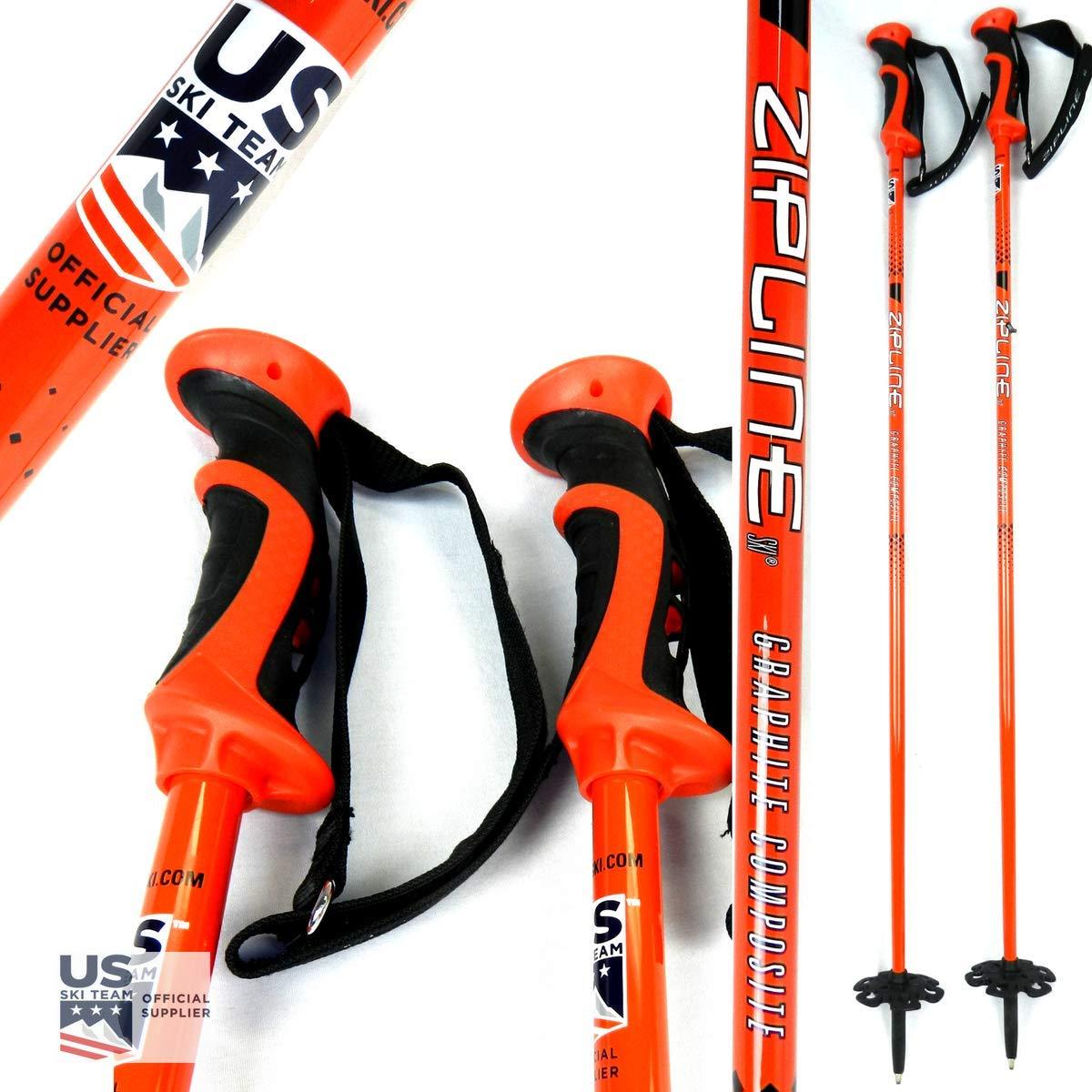 Tropical Blue, 52 in.//132 cm Ski Team Official Ski Pole Zipline Ski Poles Carbon Composite Graphite Blurr 16.0 U.S Downhill//Mens//Womens//Kids//Junior//Freestyle//Racing