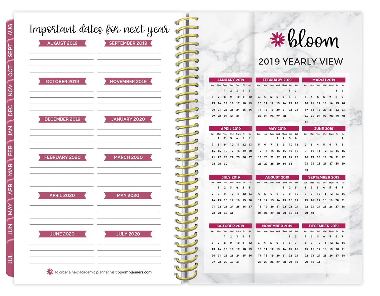 bloom daily planners 2018-2019 Academic Year Day Planner - Monthly and Weekly Calendar Book - Inspirational Dated Agenda Organizer - (August 2018 - July 2019) - 6'' x 8.25'' - Marble by bloom daily planners (Image #5)