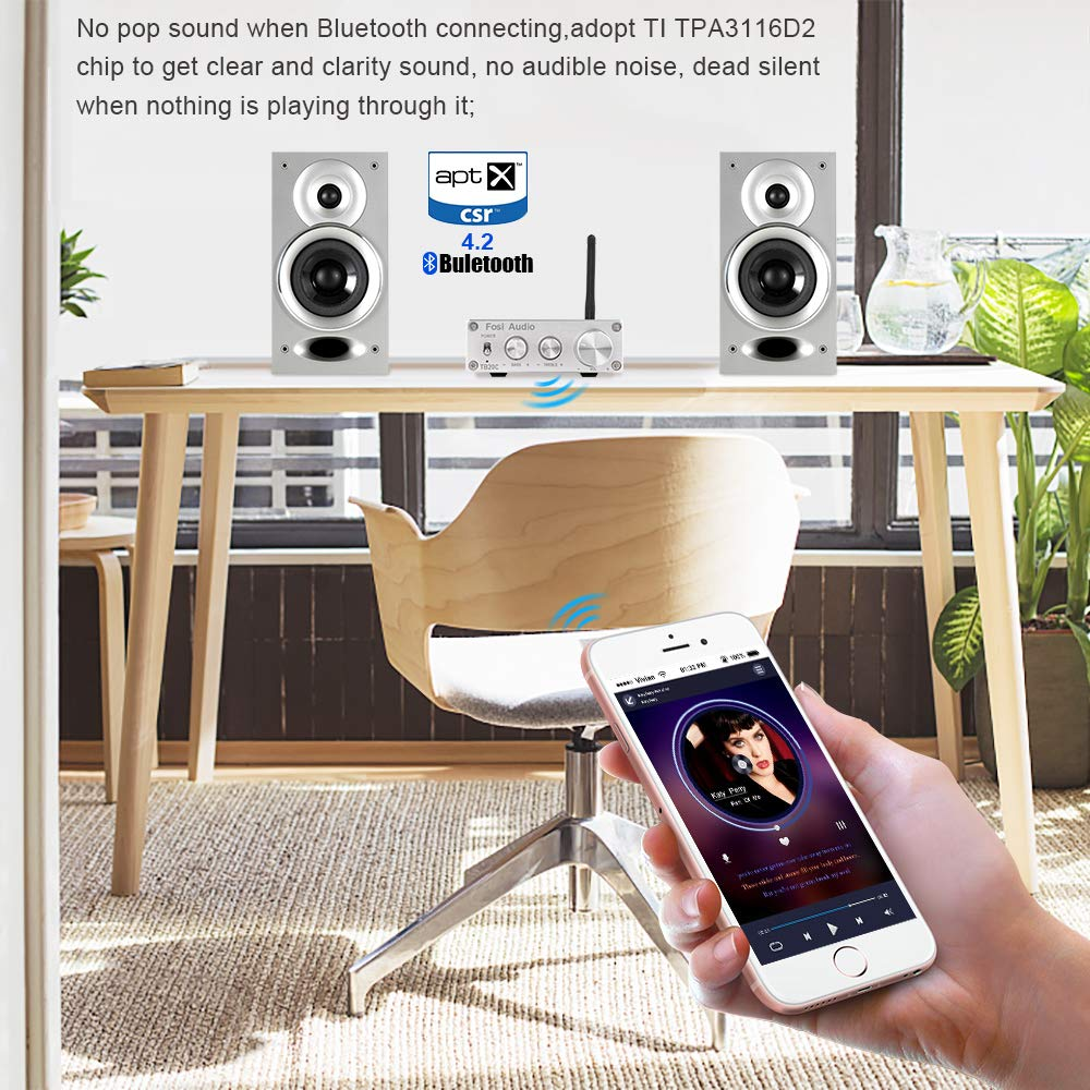 BT20C Bluetooth 4.2 Stereo Audio Amplifier 2 Channel Home Receiver Mini Hi-Fi Class D Integrated Amp 2.0CH Digital Power Amplifier for Passive Speakers with Bass and Treble Control 50W X 2 Silver