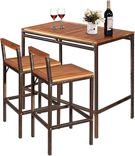 Tangkula 3 PCS Patio Bar Table Set