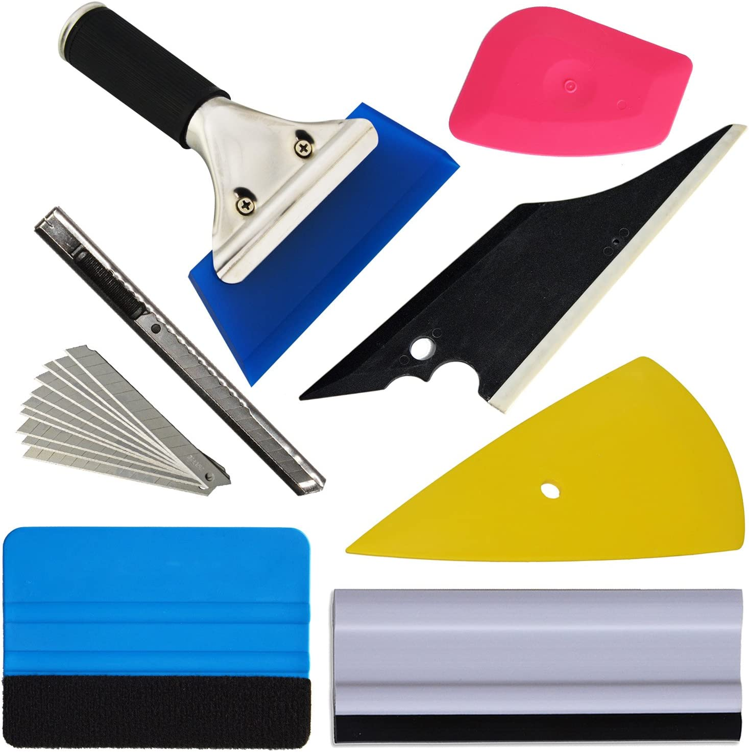 Car Wrapping Tool Kits for Solar Film Vehicle Glass Protective Film Car Window Wrapping Tint Vinyl Installing Tool 8 PCS Car Squeegee Set Kit