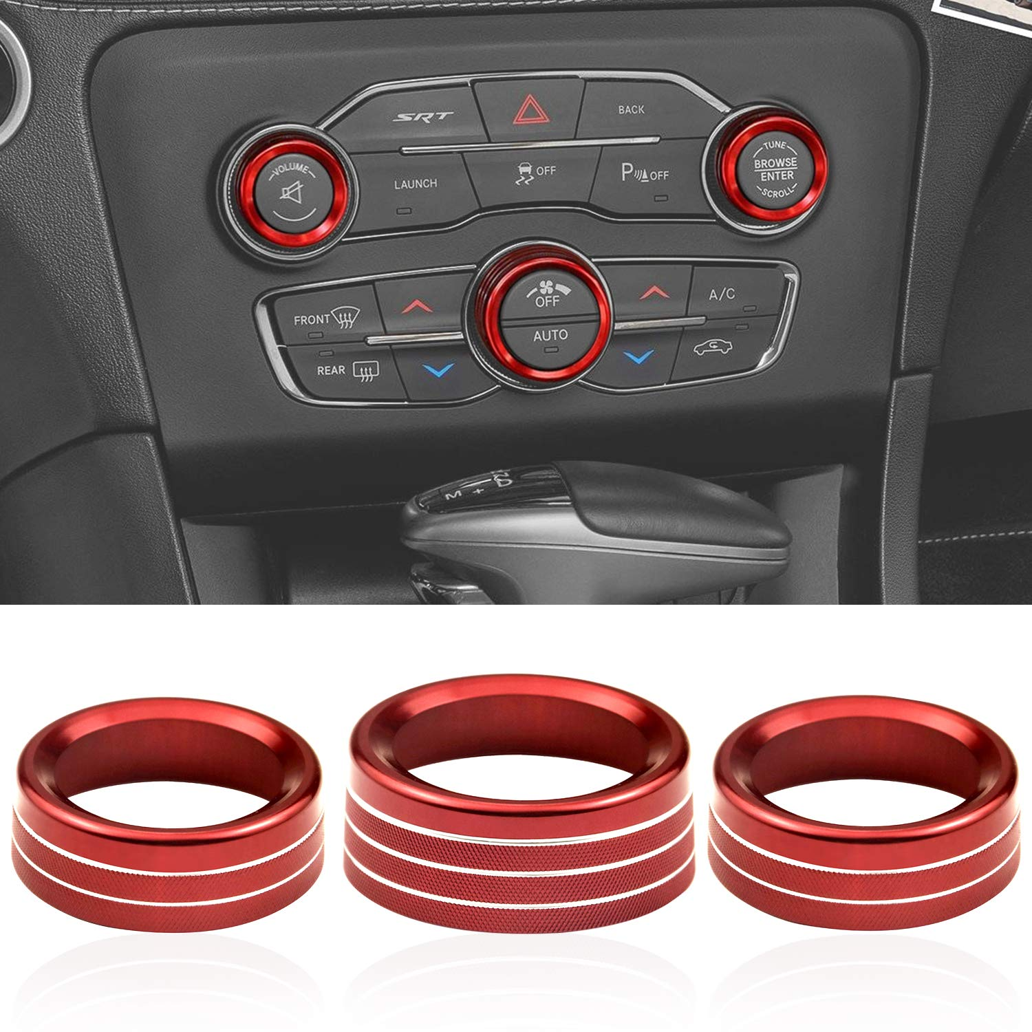 Bolaxin for Challenger Charger Air Conditioner Switch CD Button Knob for Dodge Challenger Charger 2015-2020 Aluminum Alloy Red