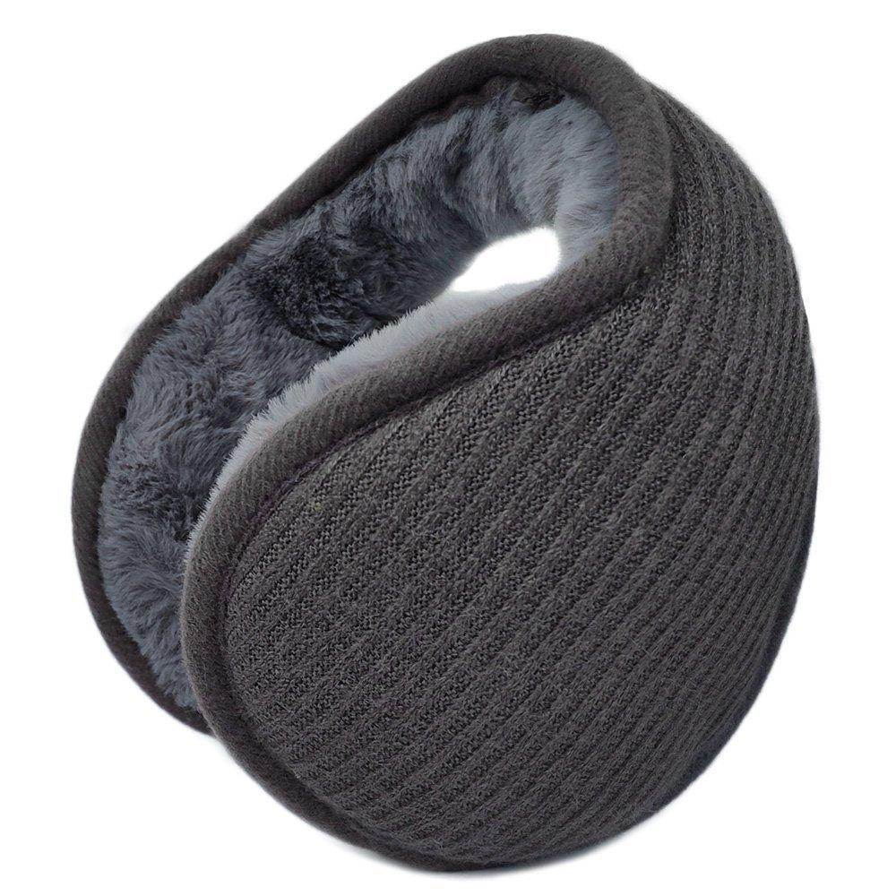 LETHMIK Outdoor Foldable Winter EarMuffs,Unisex Packable Knit Warm Fleece Ear Warmers Cover EM1803-Black