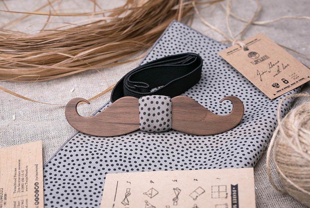 b5d247a07bc Set Men s Wood Bow Tie + Polka Dot POCKET SQUARE. Mustache Form. American  Walnut wood. Customized wedding bow tie. Groomsmen bow tie gifts. Boyfriend  gift.
