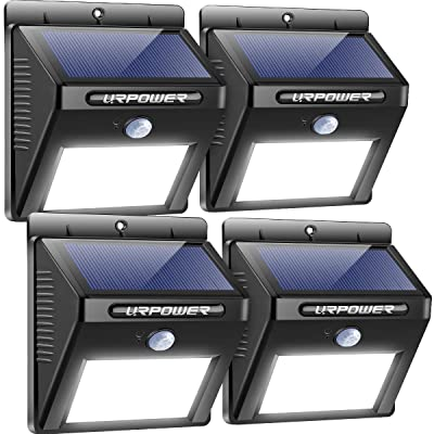 URPOWER Solar Lights Wireless Waterproof Motion Sensor Outdoor Light for Patio, Deck, Yard, Garden with Motion Activated Auto On/Off (4-Pack): Home Improvement