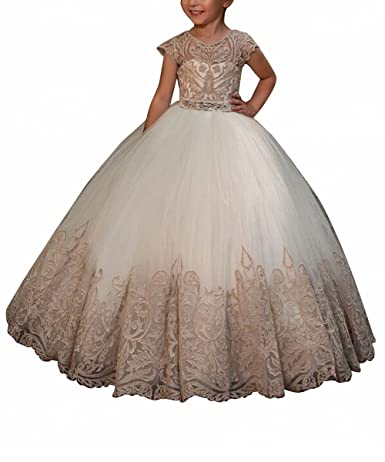 Review WDE Cap Sleeve Long Flower Girls Dresses for Wedding Communion Gown