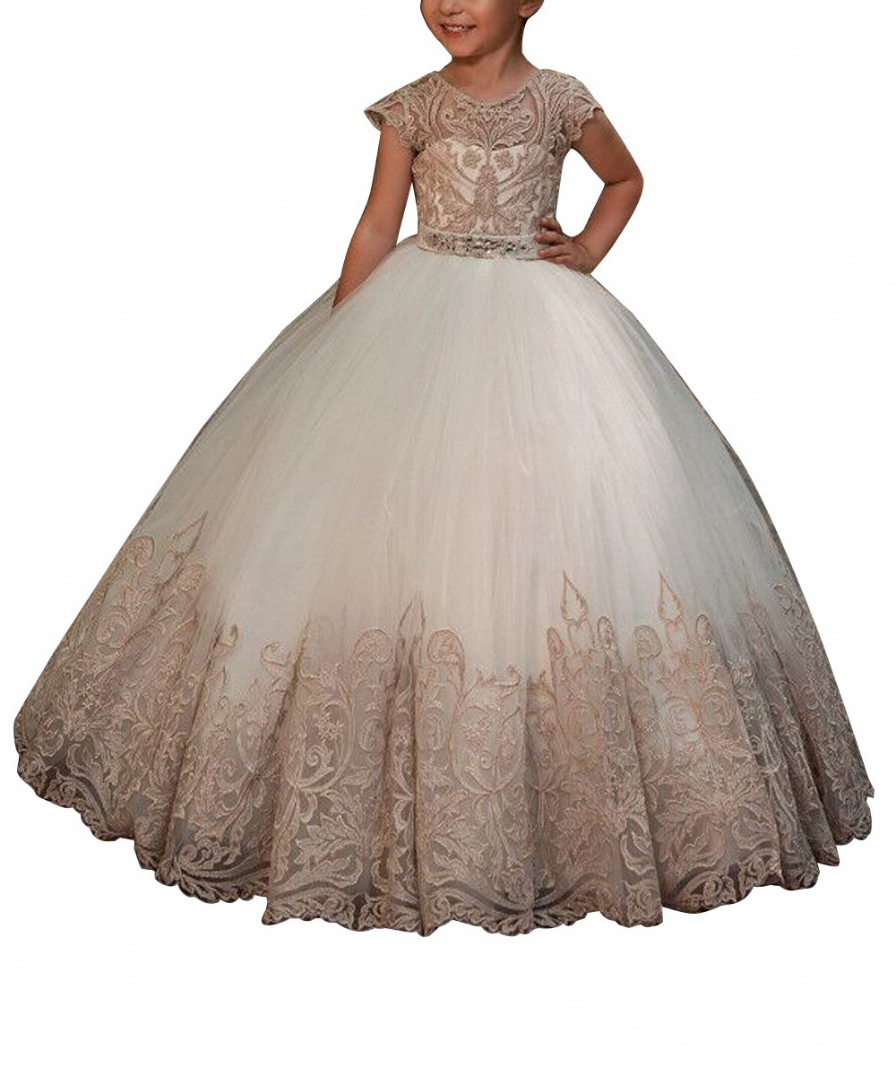 WDE Cap Sleeve Long Champagne Flower Girls Dresses for Wedding Communion Gown Size 8