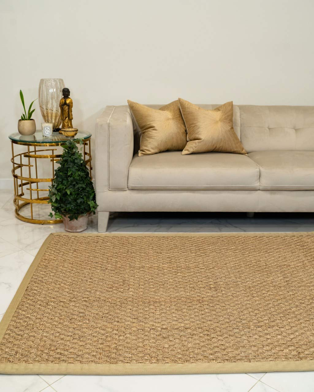 NaturalAreaRugs Lancaster Area Rug Natural Seagrass Hand-Crafted Khaki Wide Canvas Border, 5 x 8