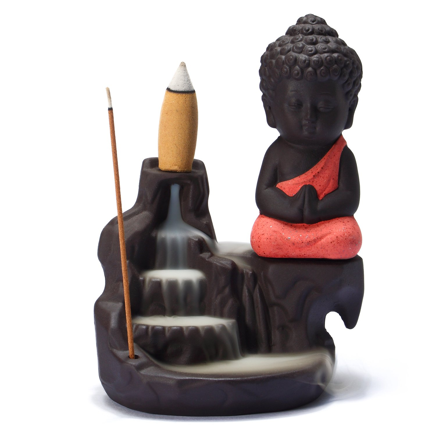 UOON Buddha Incense Burner Backflow, Handmade Ceramic Burner for Cone and Stick Incense with Ash Catcher (RED)