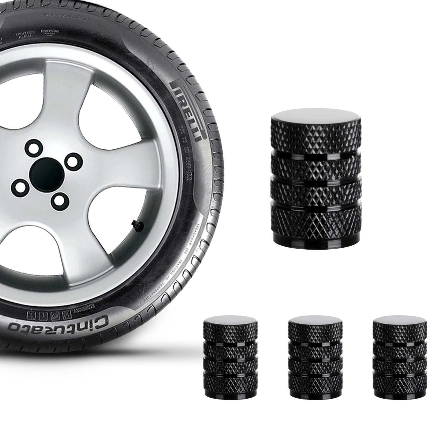 with O Rubber Seal Black Leak-Proof Air Protection Heavy-Duty Stem Covers Outdoor N // A Universal Tire Valve Stem Caps 4 Pack Crown Style Design Light-Weight All-Weather Dust Proof