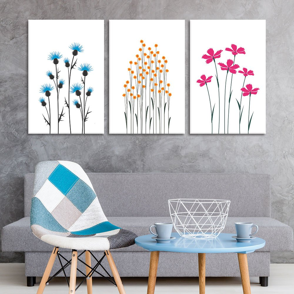 Majestic Expertise, 3 Panel Hand Drawing Style Flowers on White Background x 3 Panels, With Expert Quality