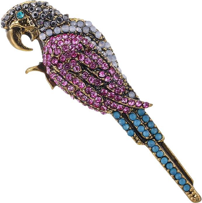 Ever Faith Femme Cristal Autrichien Party Mignon Perroquet Oiseau Animal Broche Ton dor