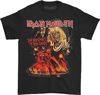 Global Iron Maiden número de la bestia del mundial hombres camiseta: Amazon.es: Ropa y accesorios