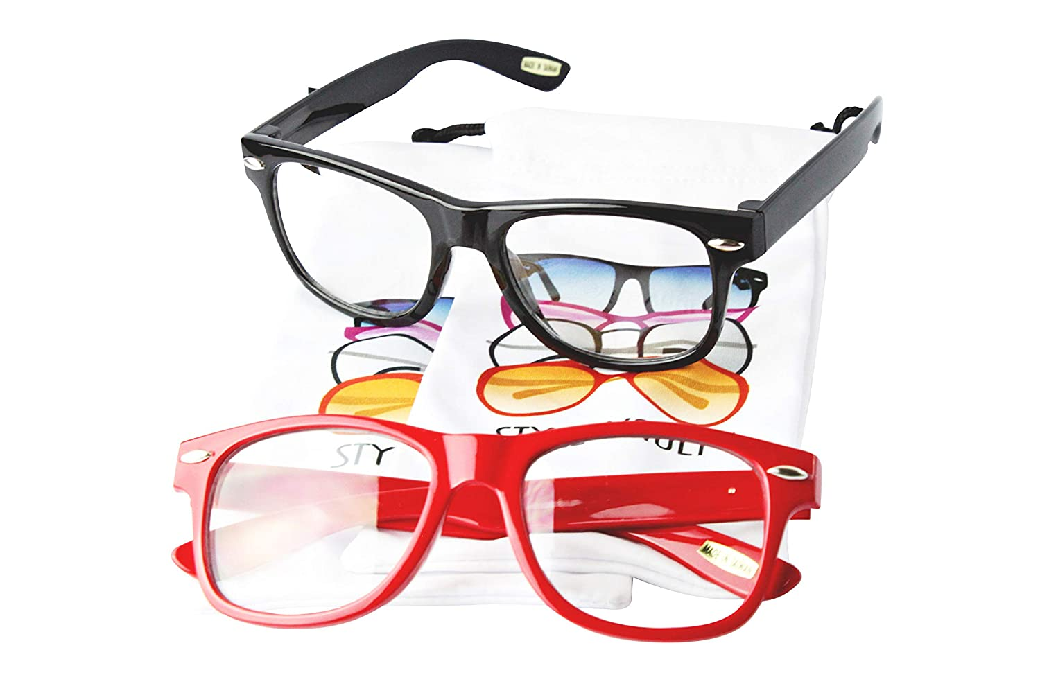 f0439c8d6b4 Amazon.com  Kd217 Kids Children Age 2~9 years Old 80s Glasses Sunglasses  (2-pack Black-clear Red-clear lens