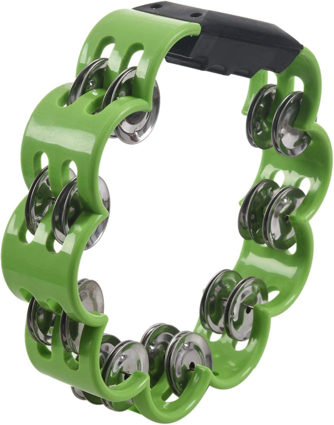 Drum Circles Etc Percussion Ensembles Great for Choirs Comfortable Hand Held Percussion Instrument Vaorwne Shamrock Tambourine for Kids and Adults Easy to Use Birthday Parties
