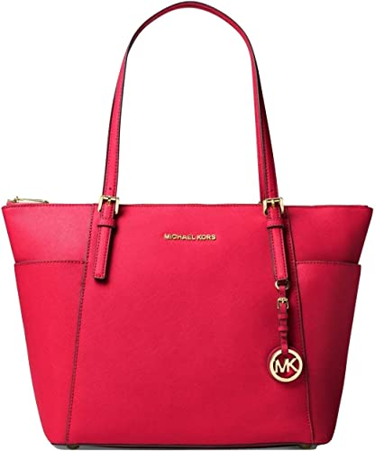 Michael Kors Jet Set Large Top Zip Leather Tote, Deep Pink