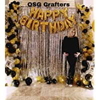 OSG Crafters 24 Pieces Combo Happy Birthday Letter Foil Balloon Set of Gold + Silver Fringe Curtain (3 X 6 Feet) + HD Metallic Balloons (Gold, Black and Silver) Birthday Decorations Items