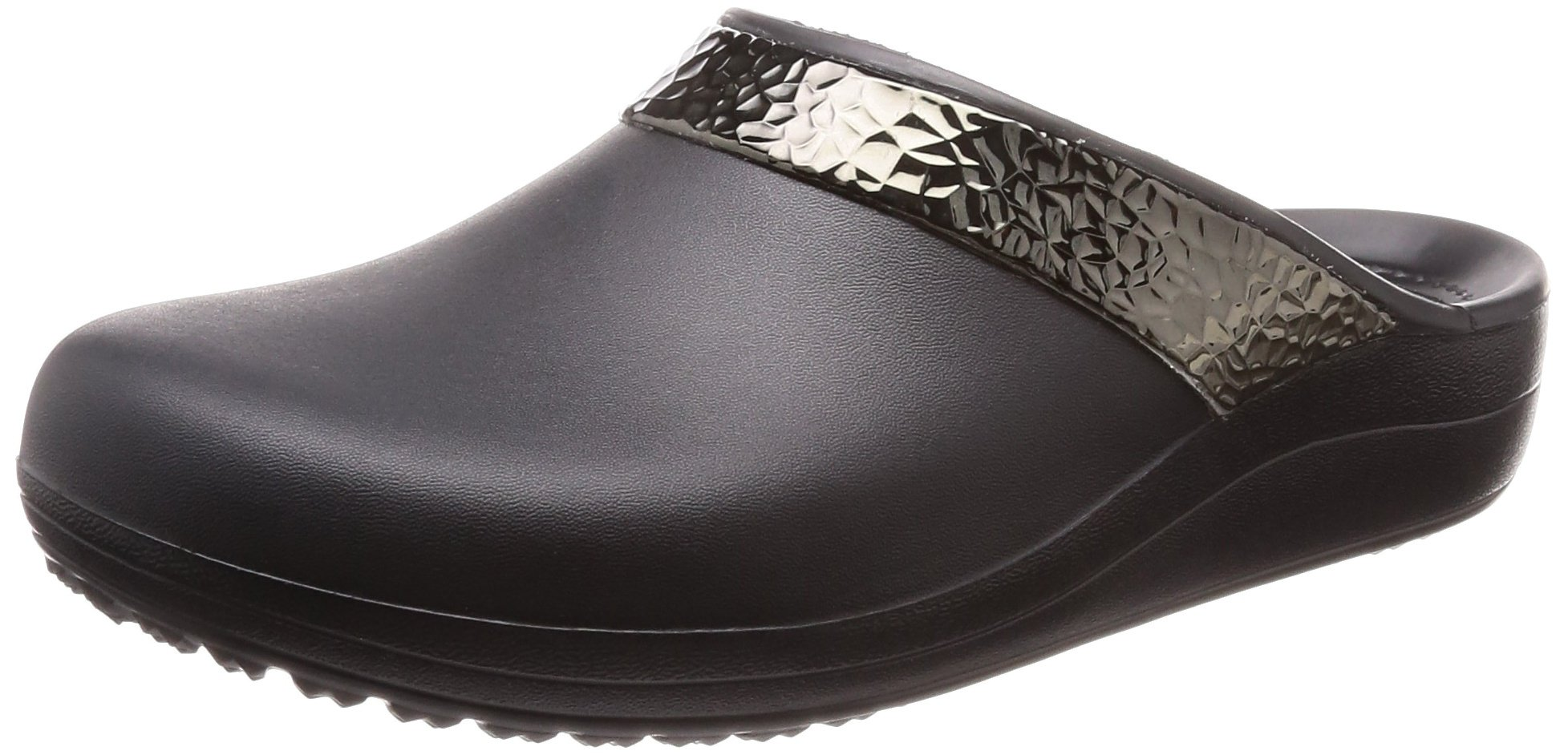 Crocs Women's Sloane Hammered Metallic Clog, Black/Black, 8 M US