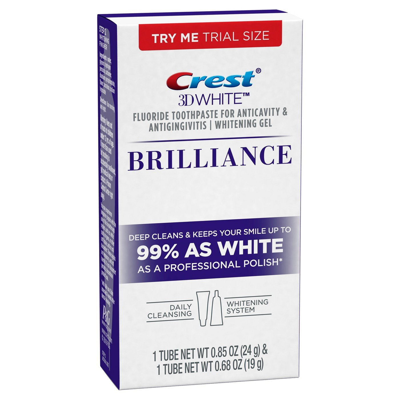 Crest 3d White Brilliance Daily Cleansing Toothpaste and Whitening Gel System .85 and .68 Oz, 0.13 Pound