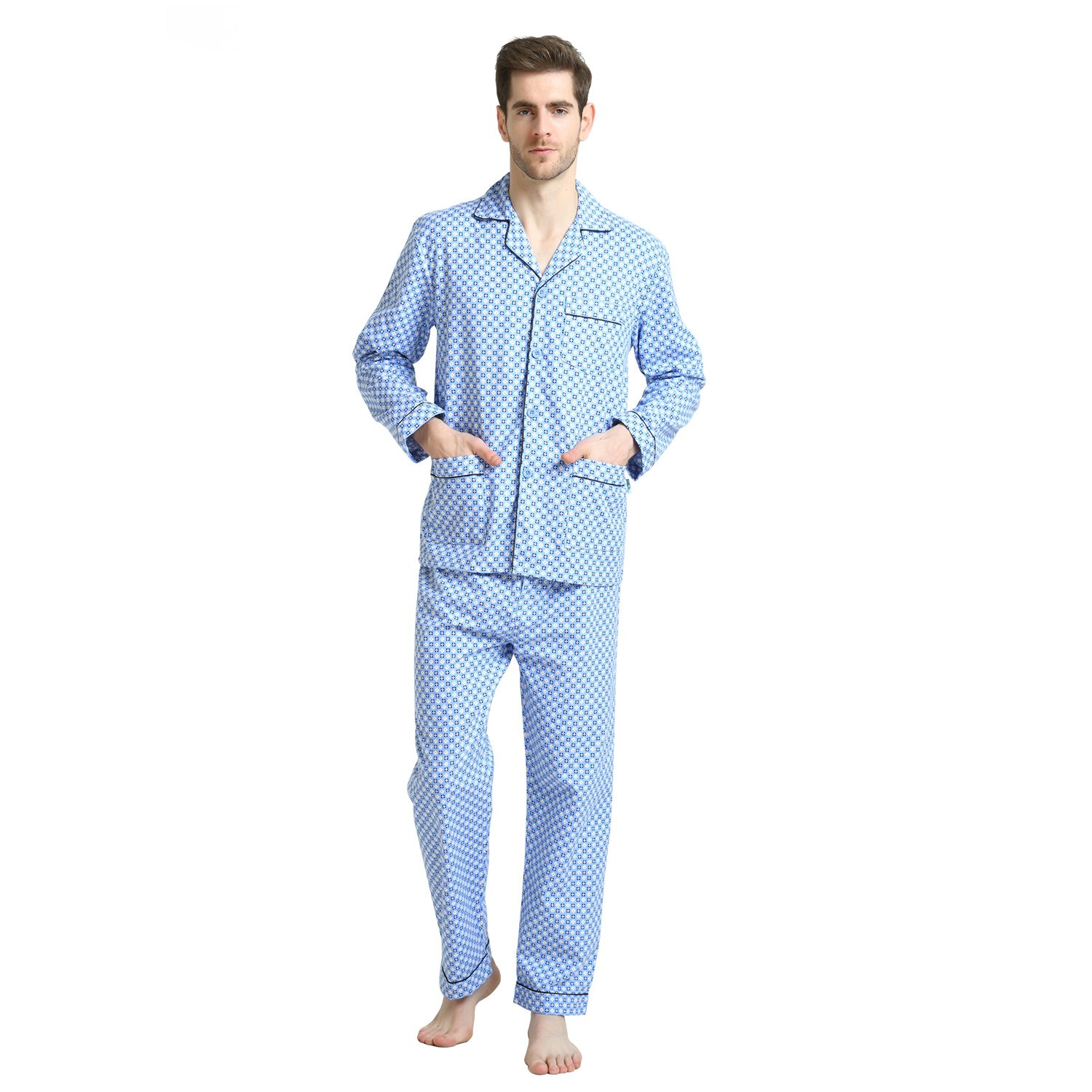 Pajamas for Men, 100% Cotton Fleece Pj Set with Elastic Pants