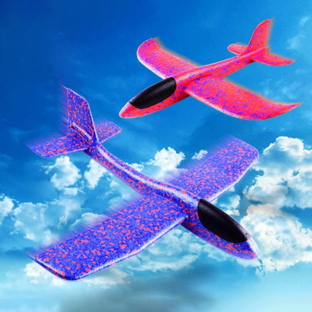JAGENIE EPP Foam Hand Throw Airplane Outdoor Launch Glider Rotating Plane Kids Gift Toy Red