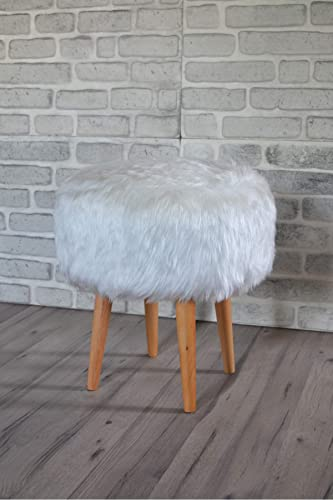 Pyramid Home Decor 17 Inch Round Faux Fur Ottoman
