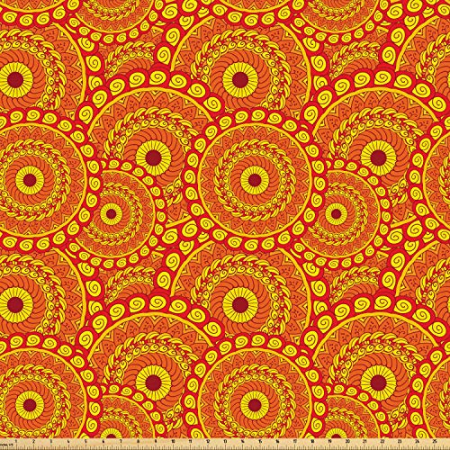 Ambesonne Mandala Fabric by The Yard, Spiral Swirling Arrangements Middle Eastern Enchanted Circles, Microfiber Fabric for Arts and Crafts Textiles & Decor, 5 Yards, Vermillion Yellow Dark Orange from Ambesonne