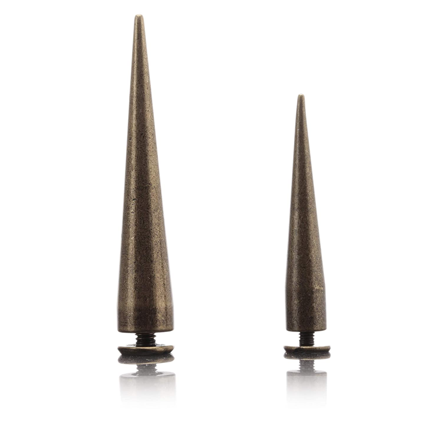 Uviviu 20 Pcs Spike Studs for Leathercraft,Solid Copper with Plating 10x55mm, Metal