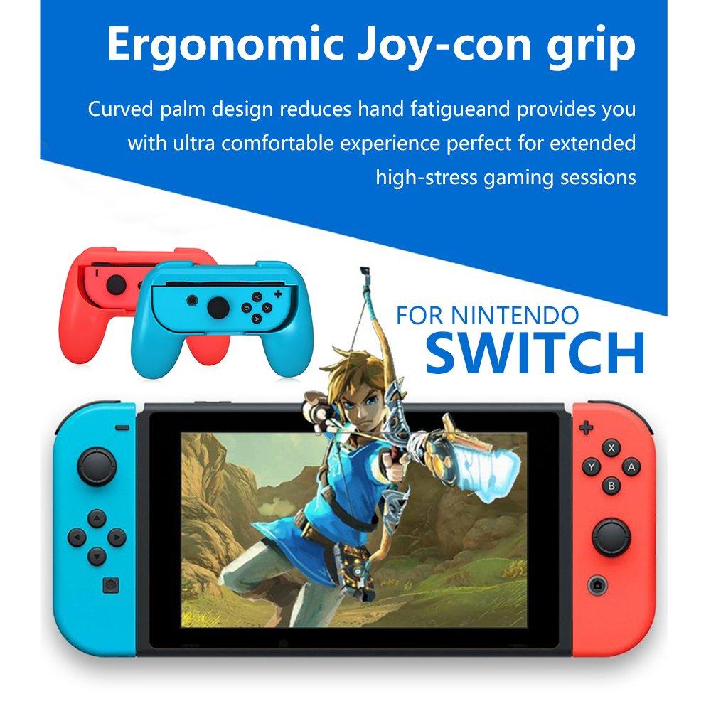 Giochi Controller Joy-con Grip Kit per Nintendo Switch, Lammcou Custodia Protettiva Ergonomica per Nintendo Switch Grip Handheld Custodia Protettiva per Tutti Gli Switch Nintendo (2-pack, Blu e Rosso)