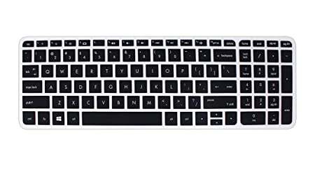 Saco Keyboard Silicon Protector Cover for HP Pavilion 15 AB035TX 15.6 inch Laptop  Black/Clear