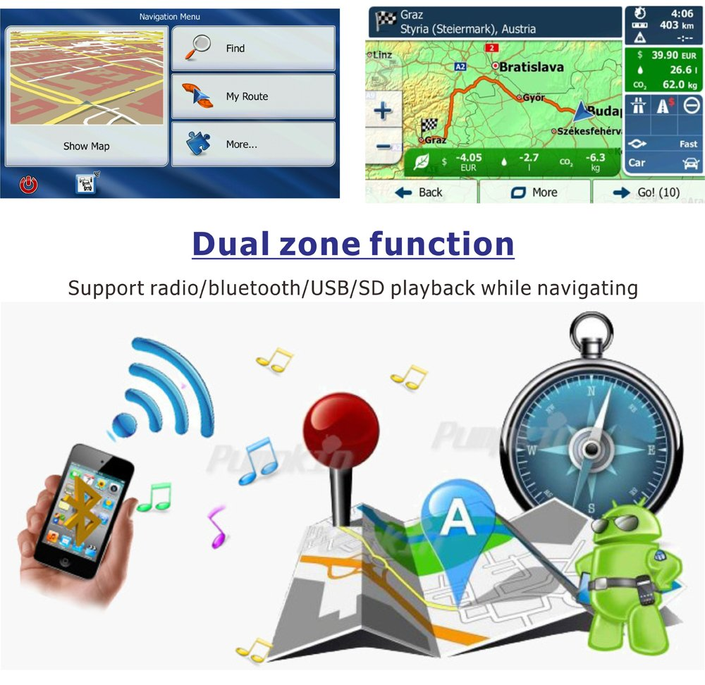 podofo Single DIN Auto Stereo Android 6.0 Autoradio RDS GPS Navigation 7 Zoll Touchscreen Spiegel Link WiFi Bluetooth HeadUnit mit Lautsprecher Unterst/ützung Lenkradsteuerung//USB//SD//R/ückfahrkamera